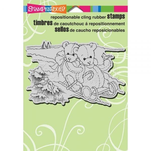 cling gumové razítko - Bear Sled Cling Rubber Stamps Stampendous