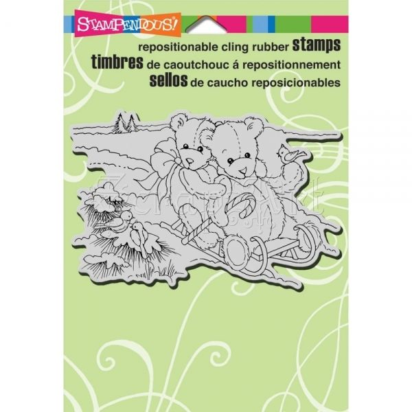 cling gumové razítko - Bear Sled Cling Rubber Stamps Stampendous