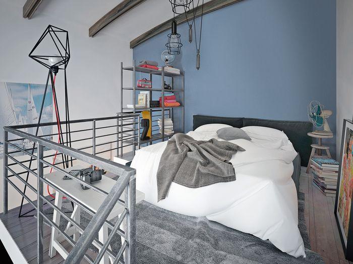 Sypialnia w nowoczesnym wydaniu, czyli… zderzenie niebieskich odcieni z czystą bielą dodatków. Aranżację wzbogacają minimalistyczne, funkcjonalne dekoracje. / Tikkurila Color Now - paleta FRESH (błękity i fiolety)