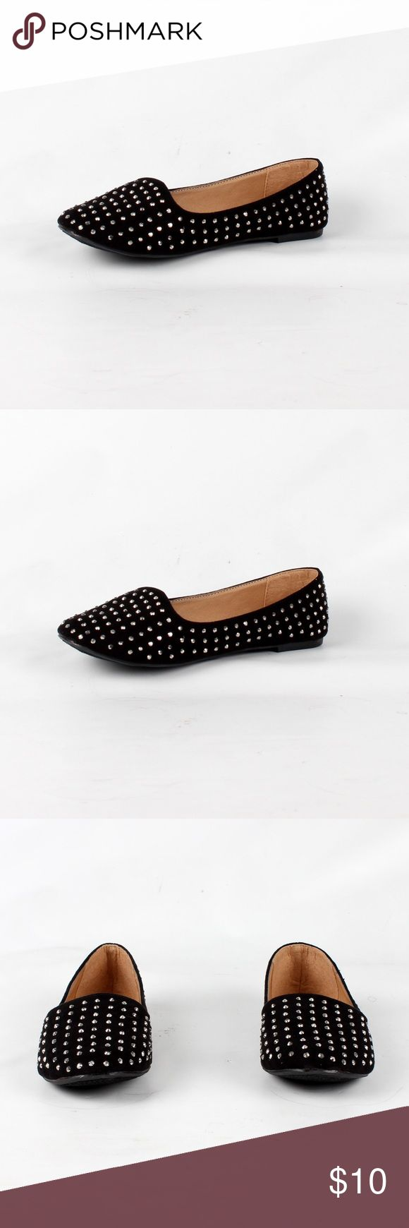Rhinestones black suede loafer (Jolene-02 Black) ¥ my boutique ¥                                                                                                                        😍All items brand new 😢No price negotiation please ✌🏻️Bundle for discounts 😬No trades & PayPal 😊Please feel free to ask any questions Shoes Flats & Loafers
