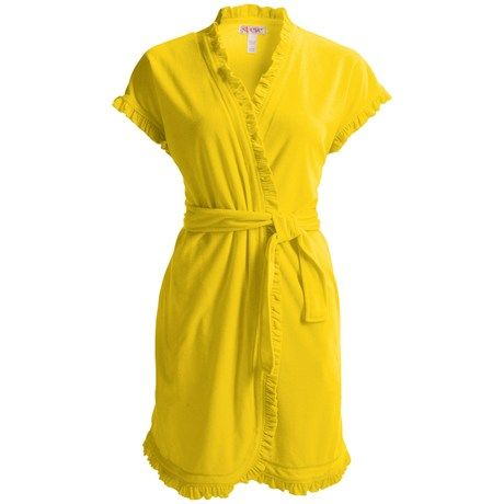 St. Eve Vintage Ruffle Robe - Terry, Short Sleeve (For Women)