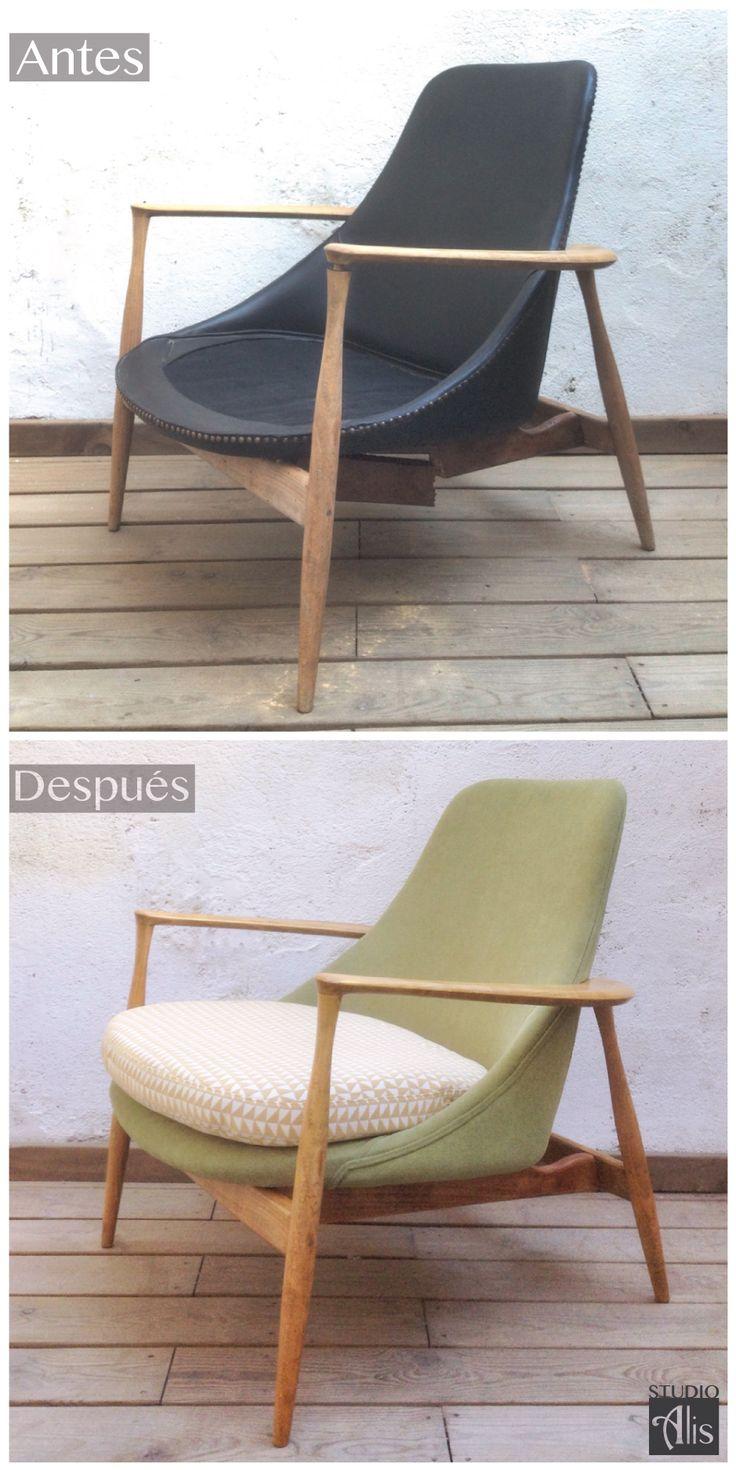Un sillón nórdico retapizado. Studio Alis - Barcelona