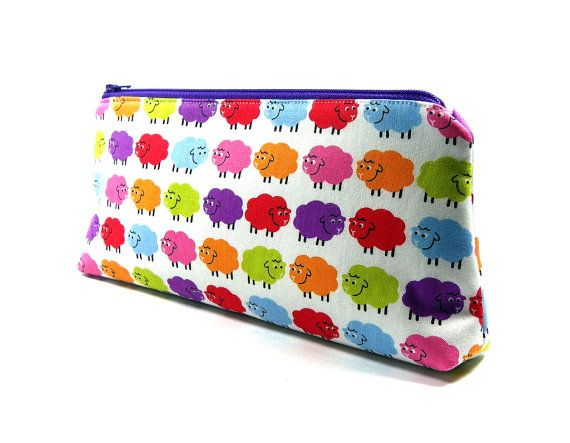 Knitting Notions Zipper Pouch  Rainbow Sheep by KnittersNook