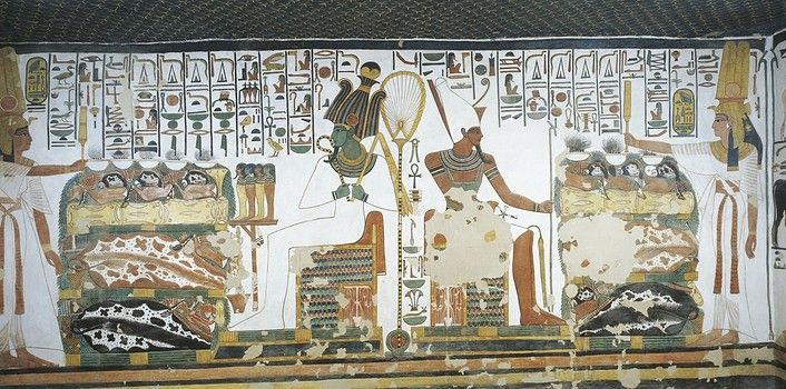 Egypt, Thebes (UNESCO World Heritage List, 1979) - Luxor - Valley of the Queens. Tomb of Nefertari. Chamber 2. Mural paintings. Queen holds sekhem sceptre to consecrate table of offerings before Osiris and Atum (Dynasty 19, Ramses II, 1290-1224 BC) (QV66 - 307610)