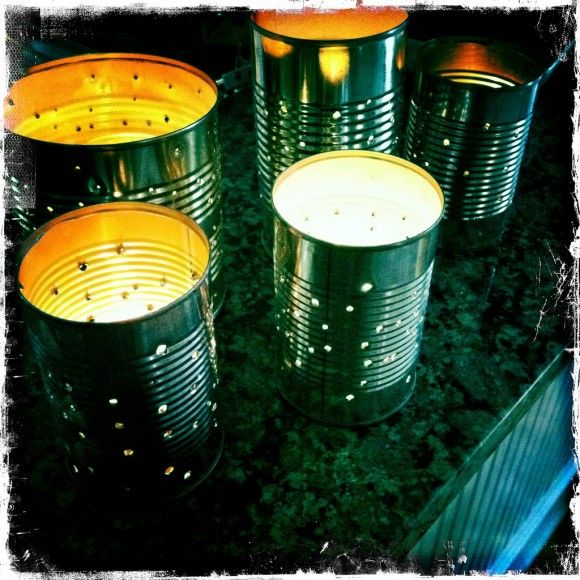 Tin can lanterns. I've done these. So easy! Fill w/ water & freeze. Then use hammer & nail 2 make designs. (Freezing keeps the can from becoming mishapen while hammering.) Once the ice has melted ur left w/ a lovely luminary! :)