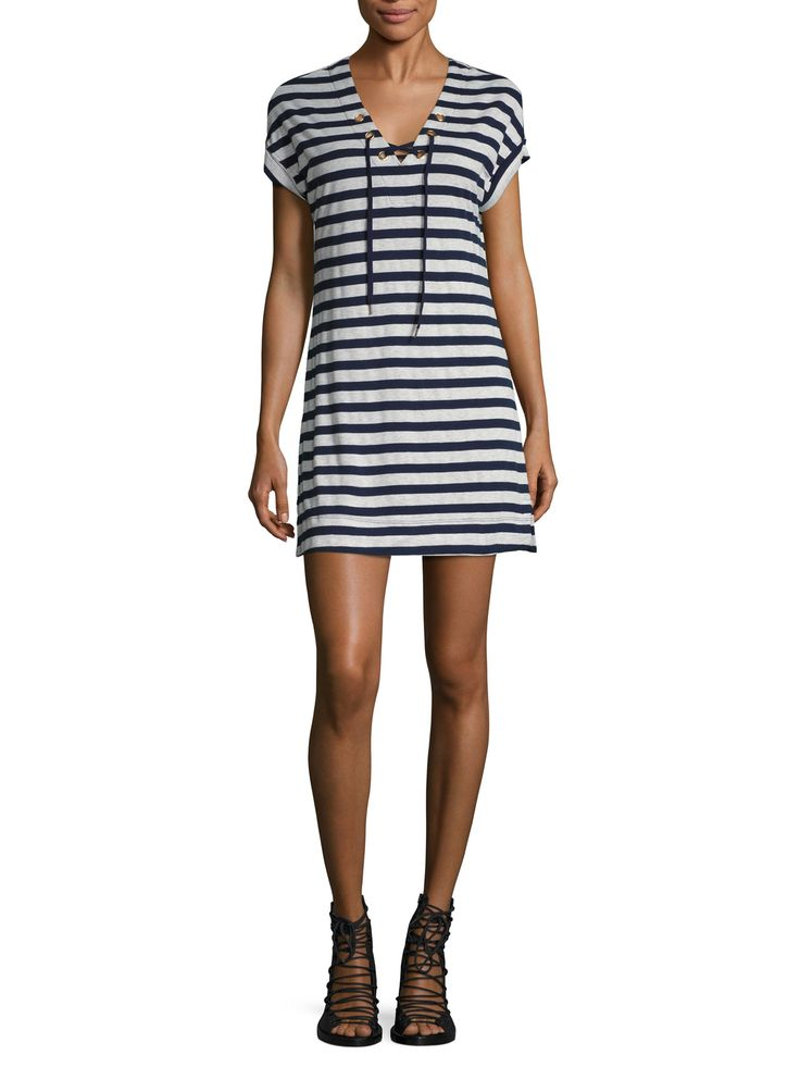Three Dots Stripe Lace Up Dress