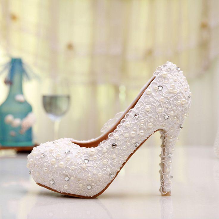 Туфли на высоком каблуке бесплатная доставка Большой размер кружева свадебные туфли белые туфли на каблуках свадебная обувь удобная невесты вечернее платье