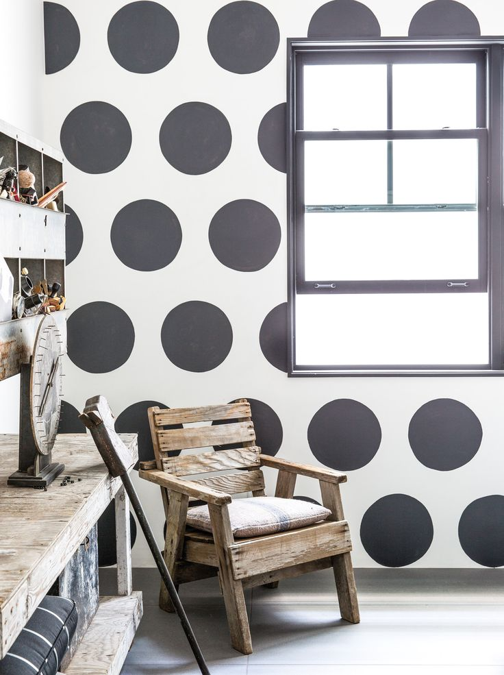 """Keaton's guest room is decorated with hand-painted polka dots. """"It's dominating. I'm sure that some of my friends who sleep over are like, get me out of this room!"""" she says. """"Enough with the polkadots!"""""""
