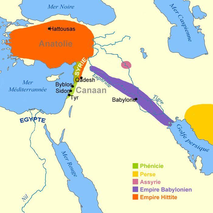 Carte des premiers empires pendant l'antiquité  (Antiquité - Moyen-Orient - v.2000 à 1200 av. J.-C. : Empires babylonien et hittite)