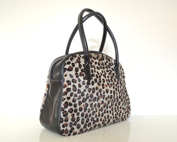 Abaco leopard printed handbag with black leather by rosesandruins