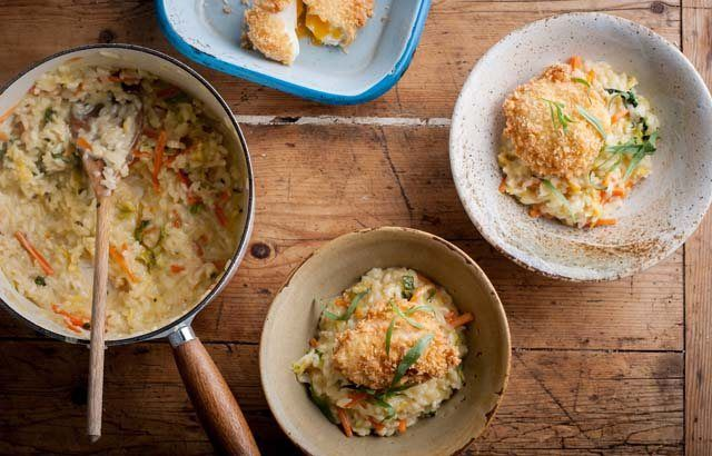 Bubble and squeak risotto with crispy egg - Paul Ainsworth