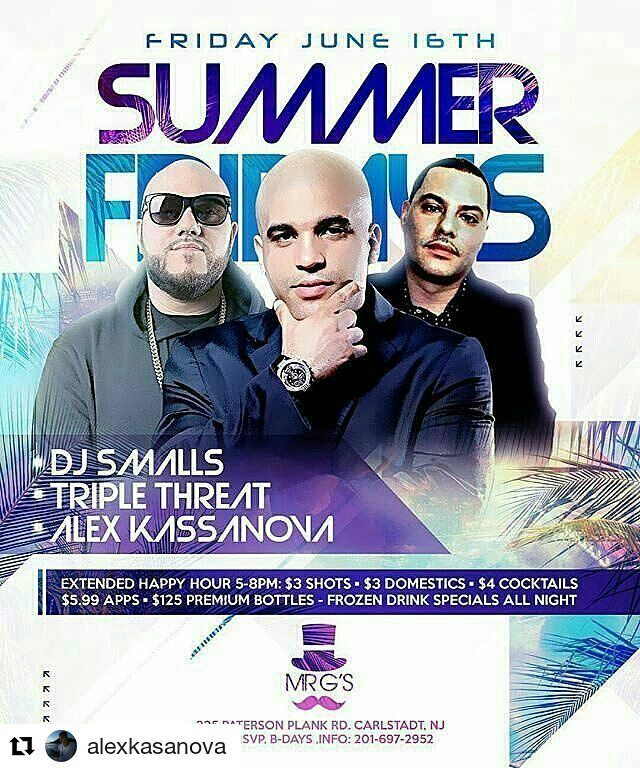 """Tomorrow. . #Repost @alexkasanova ・・・ #SummerFridays @mrgsnj  Party Starts Afterwork Into the night!! Soundtrack By DJ SMALLS - DJ TRIPLE THREAT - DJ ALEX KASANOVA  #PanteraEnt No Cover Charge EVERYONE FREE!!! $125 bottle special till 11pm  #MrGs #Afterwork #Carlstadt #bergencounty #AfterworkNJ #PanteraEnt #nightlife #events #partyanimals #clubs #njnightlife #mrgs #drink #bottles #vip #bottleservice #fridays #champagne #guestlist  #hiphop #openformat #edm #latin  #upscale"" by @alexkasanova…"