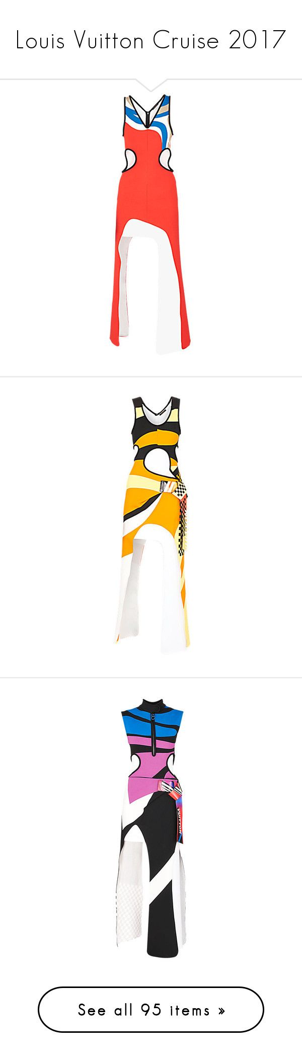 """""""Louis Vuitton Cruise 2017"""" by mariots22 ❤ liked on Polyvore featuring dresses, white asymmetrical dress, red day dress, white dress, colorblock dress, white jersey dress, yellow jersey, sporty dresses, orange jersey and blue jersey"""
