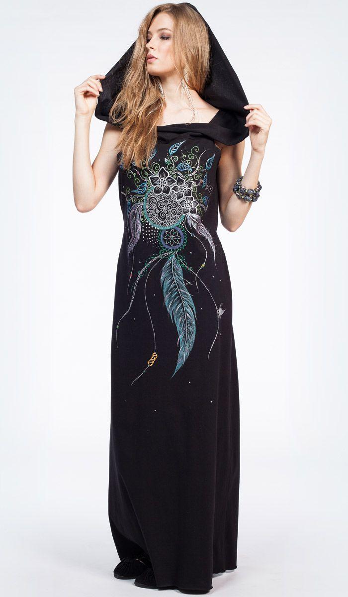 длинное черное платье с капюшоном, Сказочное платье, мандала, ловец снов, long black dress with hood, bohemian style, fairy. 6880 рублей