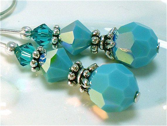 Turquoise Swarovski Crystal Silver Handmade Earrings