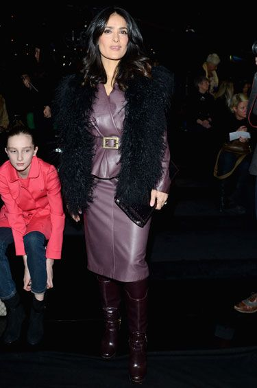 Salma Hayek in a purple leather skirt suit - Best Dressed Celebrities - Derek Blasberg's Weekly Best Dressed List - Harper's BAZAAR