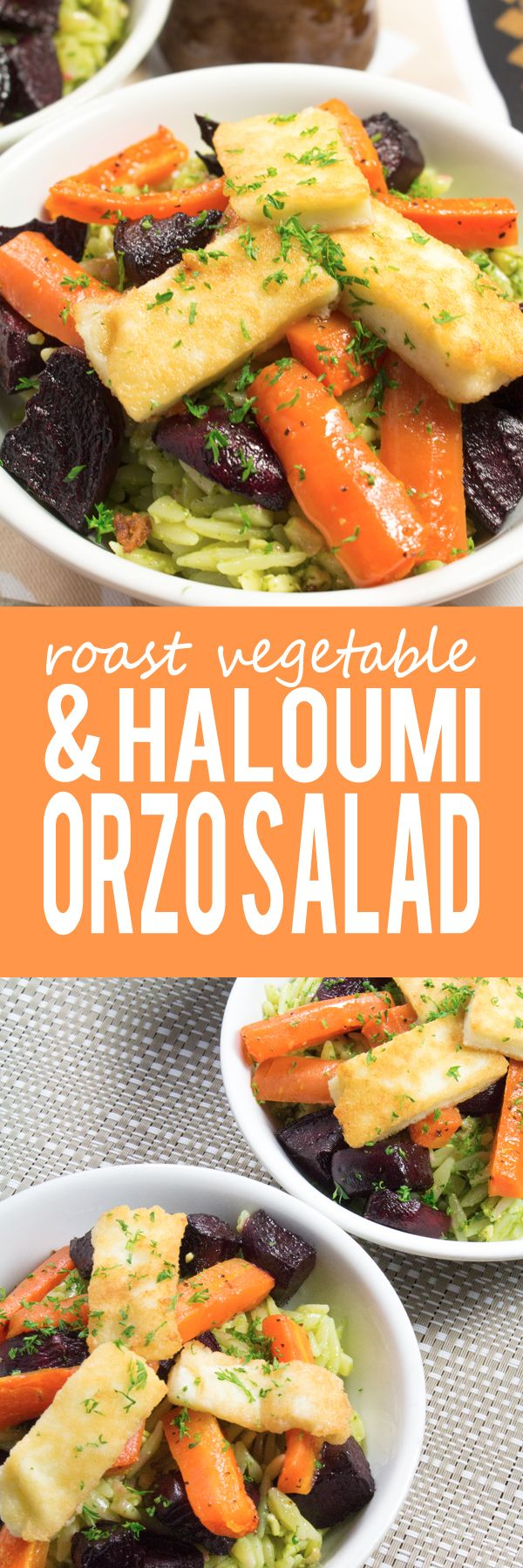 Roast Vegetable and Haloumi Orzo Pasta Salad - This super easy and healthy vegetarian salad is exploding with amazing flavors!