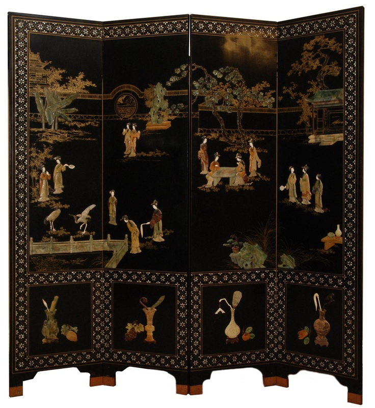 Chinese Inlay And Lacquer 4 Panel Screen Materials