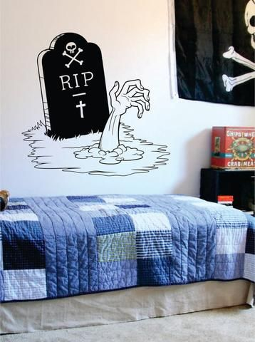 Zombie Hand and Tombstone Design Decal Sticker Wall Vinyl Art Home Room Decor