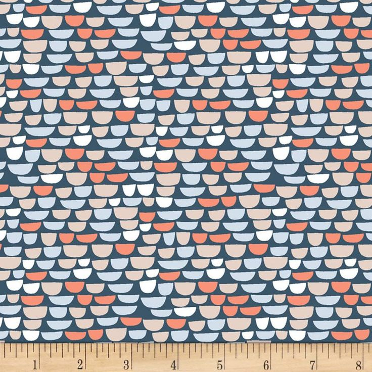 Dear Stella The Big Chill Half Scallop Navy from @fabricdotcom  Designed by Dear Stella, this cotton print is perfect for apparel, quilting and home decor accents. Colors include navy, light grey, periwinkle, light blue, orange coral, and taupe.