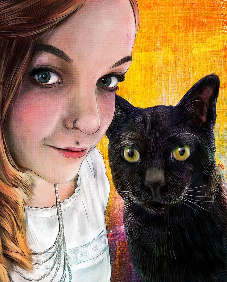 Commissioned portrait of Grace and her furry pal Dexter  Commission info & requests: https://www.etsy.com/au/listing/191989009/custom-pet-portrait-beautiful-digital?ref=shop_home_active_2
