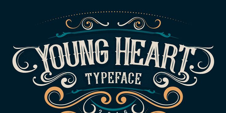 A free for personal & commercial use font called Young Heart. It is a stylish vintage-looking typeface made free by HeyDesign Media and it includes uppercase characters, numbers and some special glyphs.