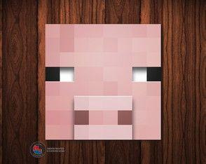 Adesivo Caixa Acrílica Porco Minecraft