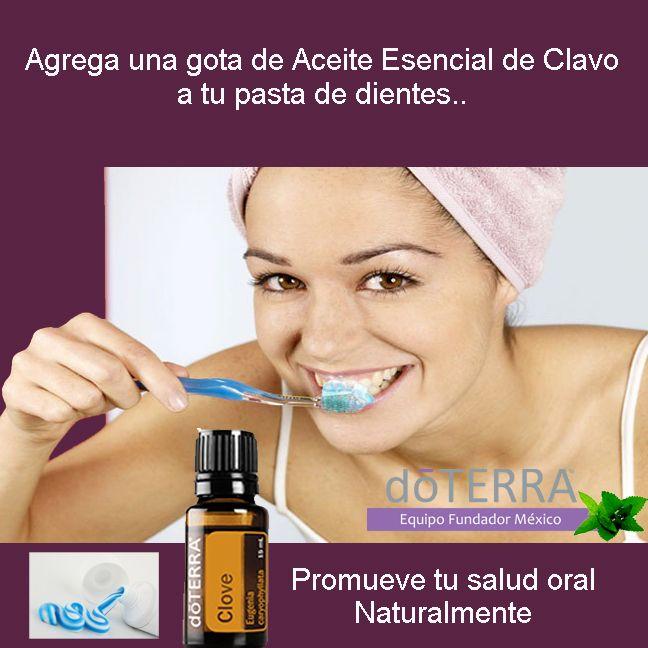Agrega una gota de #aceiteesencial de #clavo #doTERRA a tu pasta de dientes una…
