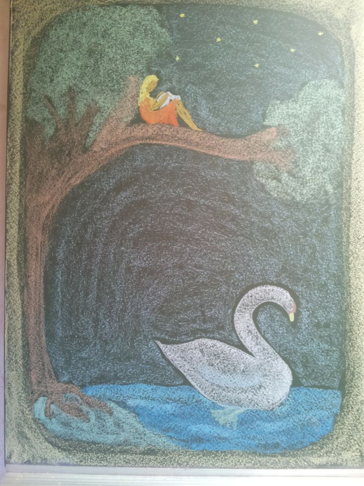 S is for Swan Chalkboard drawing