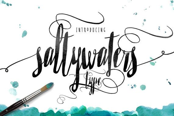Please welcome the newest Creativeqube Design Font - Saltywaters Type  A gorgeous hand drawn brush script with tight kerning and swashes