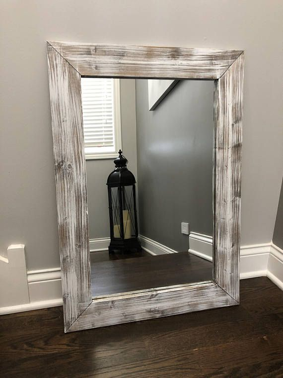 Whitewash Mirror Wood Frame Mirror Rustic Wood Mirror Etsy Wood Framed Mirror Wood Mirror Wooden Mirror Frame