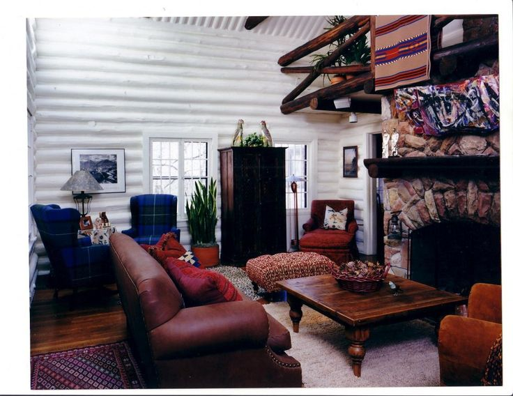 Rustic living room  except I would never paint my logs white 54 best Log Homes Painted images on Pinterest   Log homes  Log  . Painting Log Cabin Interior Walls. Home Design Ideas