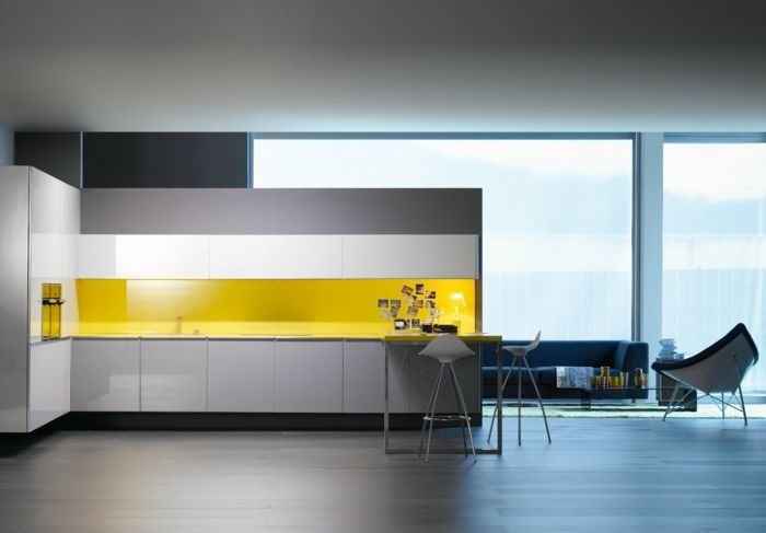 glasrückwand küche gelbe küchenrückwand