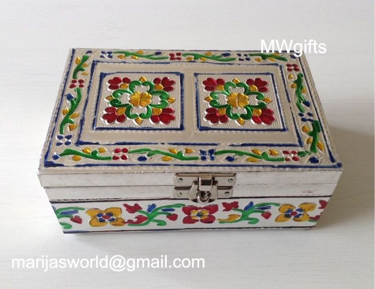 Embossed Silver Metal Medium Jewellery Box - Hand Made and Painted