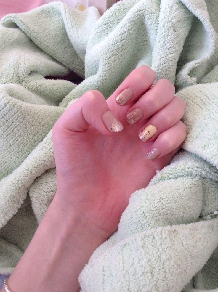 Rose gold glitter polish over pretty pastels #nails #pastels