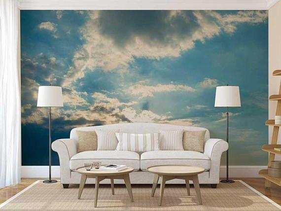 Wallpaper Cloud Sky Wall Mural Wallpaper Sky Cloud Wall Etsy Mural Wallpaper Wall Murals Cloud Wall Decal