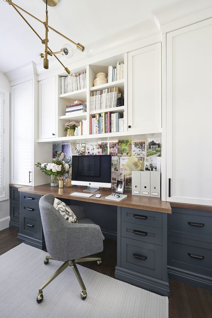 Pretty Sure This Is My Dream Office Love The Dark Blue Gray Lower Desk  Cabinets Wood Top And White Uppers Beautiful Home Office Idea Arctic Home  Office ...