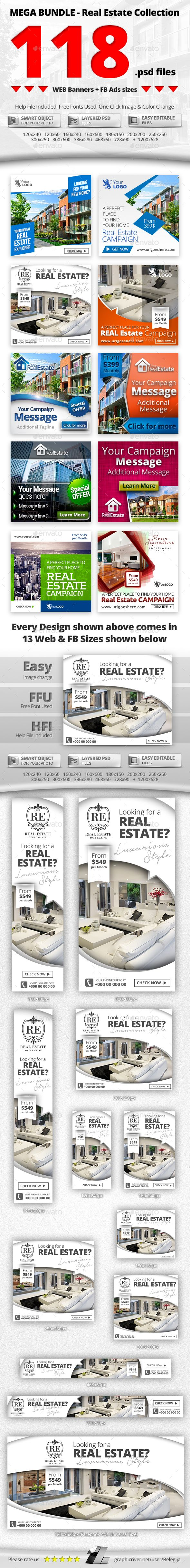 10 in 1 Real Estate Web & FB Banners - Mega Bundle 1