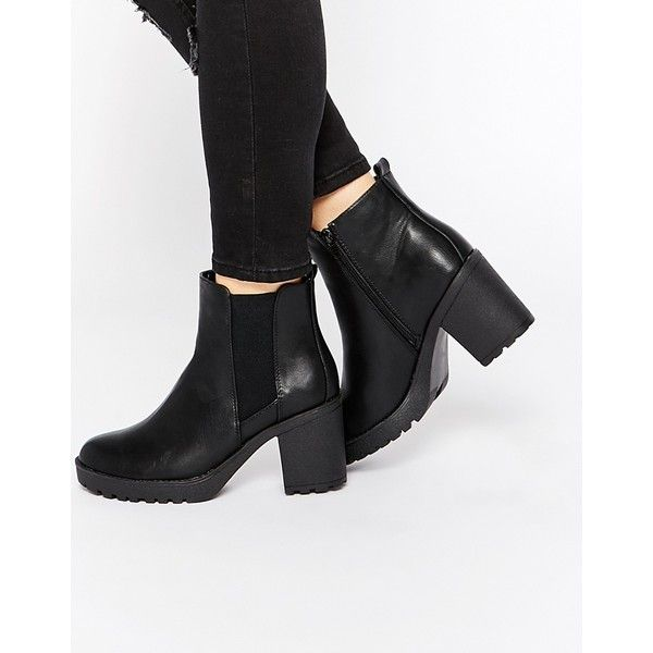 Oasis Heeled Ankle Boots ($81) ❤ liked on Polyvore featuring shoes, boots, ankle booties, black, chunky black booties, high heel boots, ankle boots, black boots and black high heel booties