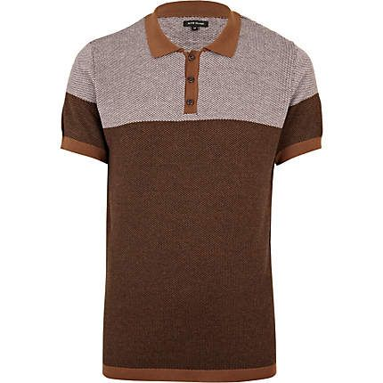 brown contrast knitted polo shirt - polo shirts - t-shirts / vests - men - River Island