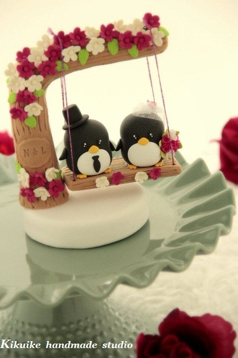 Custom Wedding Cake Topper -Handmade love penguin with love flower tree and a swing.