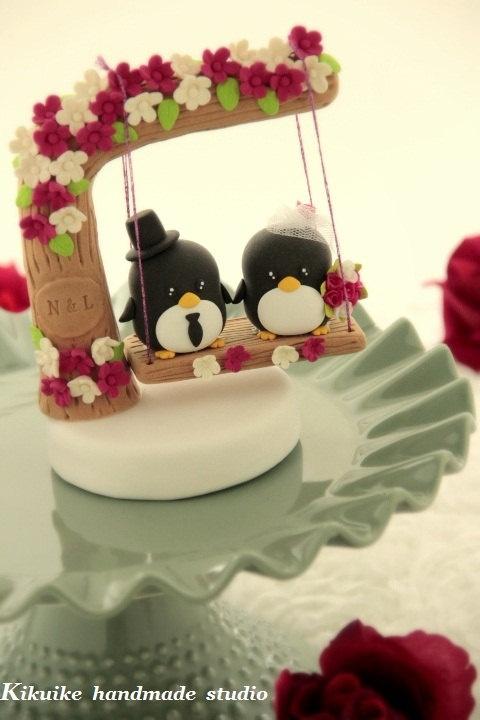 Custom Wedding Cake Topper -Handmade love penguin with love flower tree and a swing.