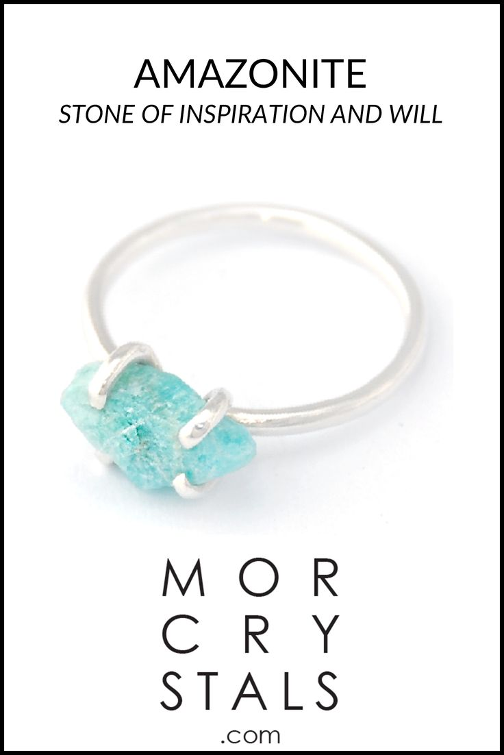 Amazonite - Stone of Inspiration and will - Enhances communication  Raw and natural Amazonite piece set in to a handmade ring made with recycled 925 silver.  From the MOR Collection Piece of Earth. Find on morcrystals.com