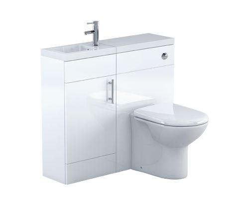 Thorpe White 400 Cloakroom Combination Unit Set with Sink, Cistern & Toilet - V50181103CU front_angle square medium
