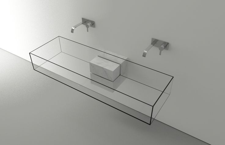 """Kub by Victor Vasilev.  Beautiful 2010 concept design by Victor Vasilev with a transparent sink entitled """"Kub"""" seeking purity in shapes with the use of marble and glass creating a minimal and seamless integration with the minimal surrounding environment. http://www.victorvasilev.com/"""