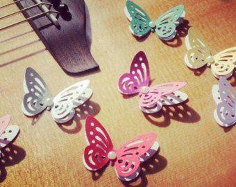 Luz púrpura y turquesa mariposas / de papel mariposas por Gabiworks