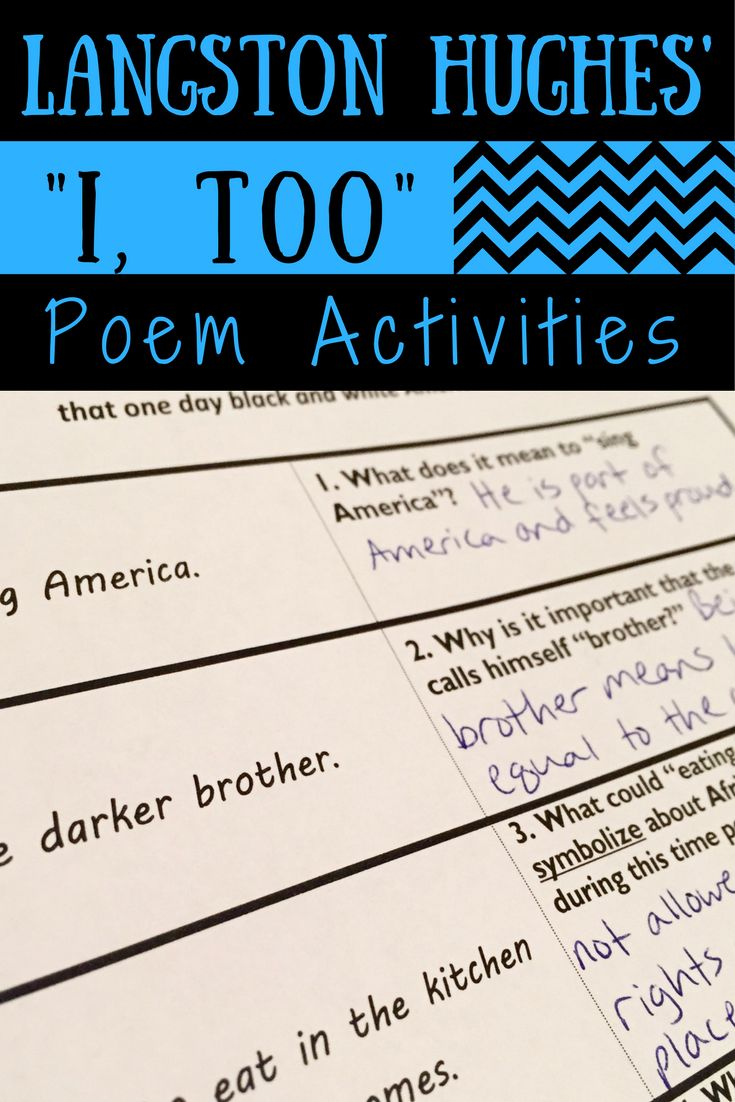 best ideas about poems by langston hughes i too poem activities this is a great poem by langston hughes