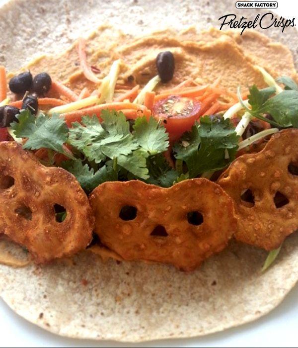Crunchy Buffalo Wing Pretzel Crisps Veggie Hummus Wrap