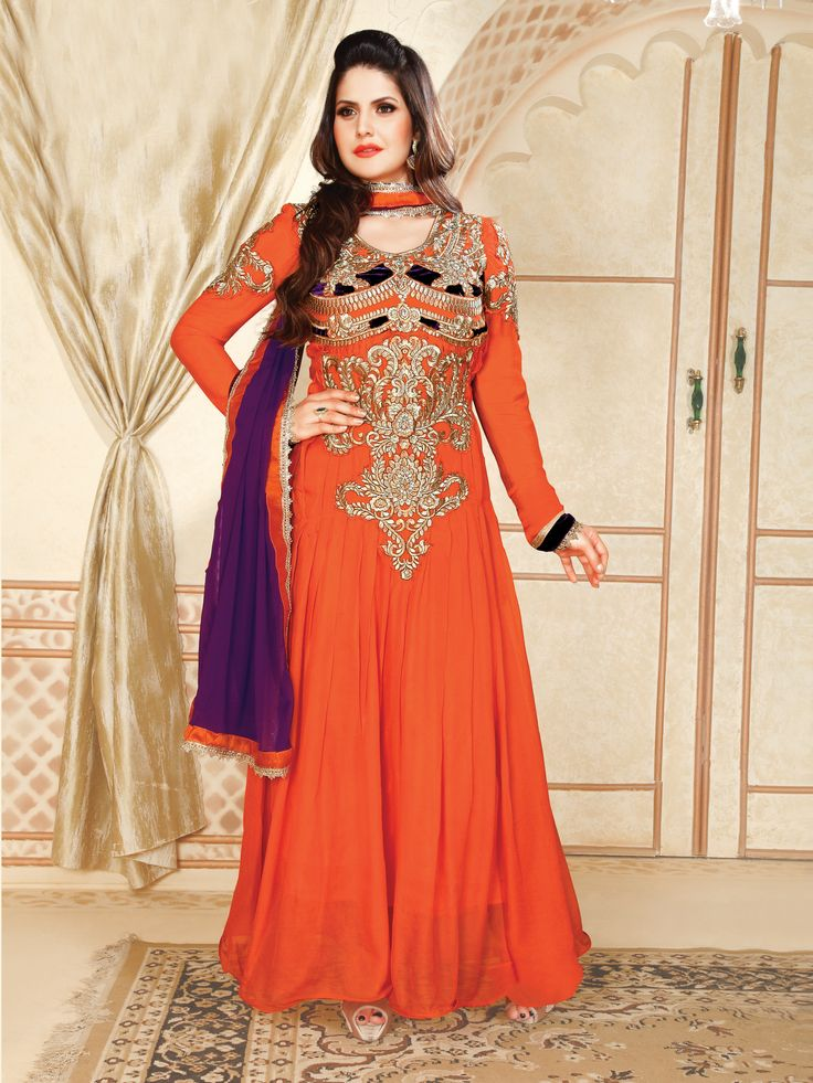 #zarinkhan in beautiful orange & Purple #anarkali Suit