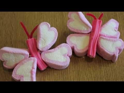 Como fazer borboletas paletas com chocolates, marshmallows, marshmallows ..: idéias de mesa doces - YouTube